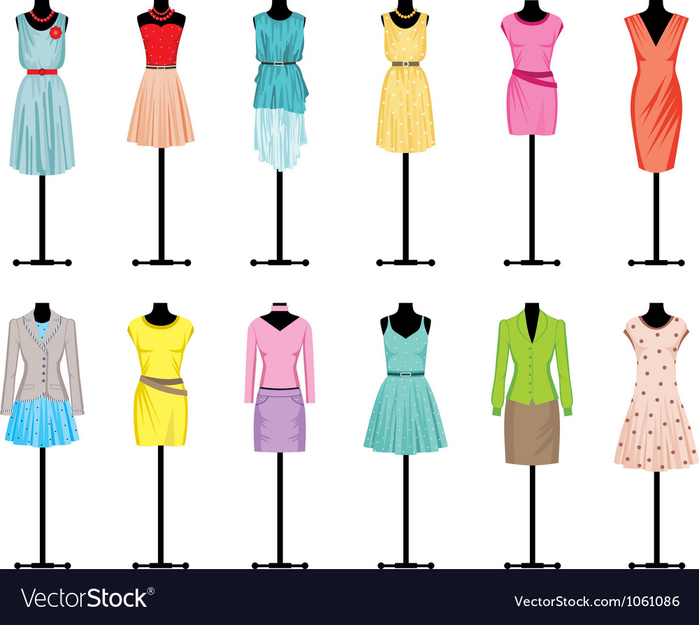 Mannequins with women clothing vector | Price: 1 Credit (USD $1)