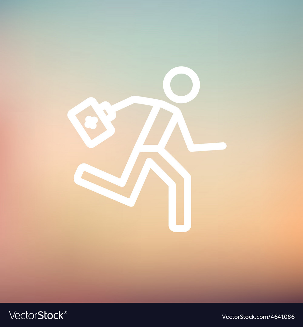 Paramedic running with first aid kit thin line vector | Price: 1 Credit (USD $1)