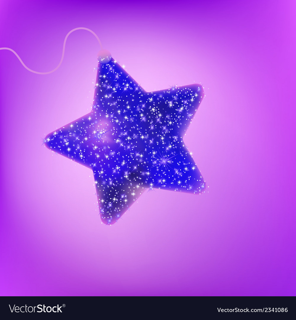 Postcard with a twinkling purple star eps 8 vector | Price: 1 Credit (USD $1)