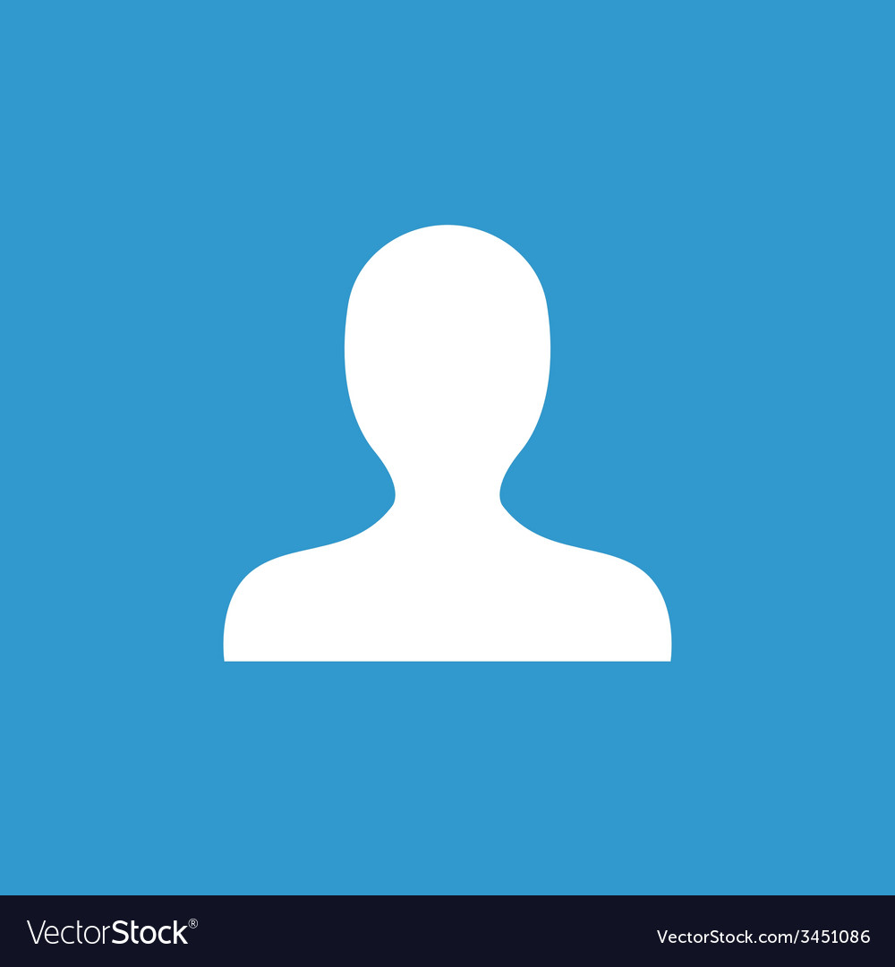 Profile icon white on the blue background vector | Price: 1 Credit (USD $1)