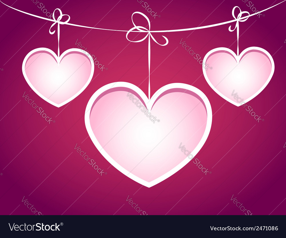 Three hearts hanging on a string vector | Price: 1 Credit (USD $1)