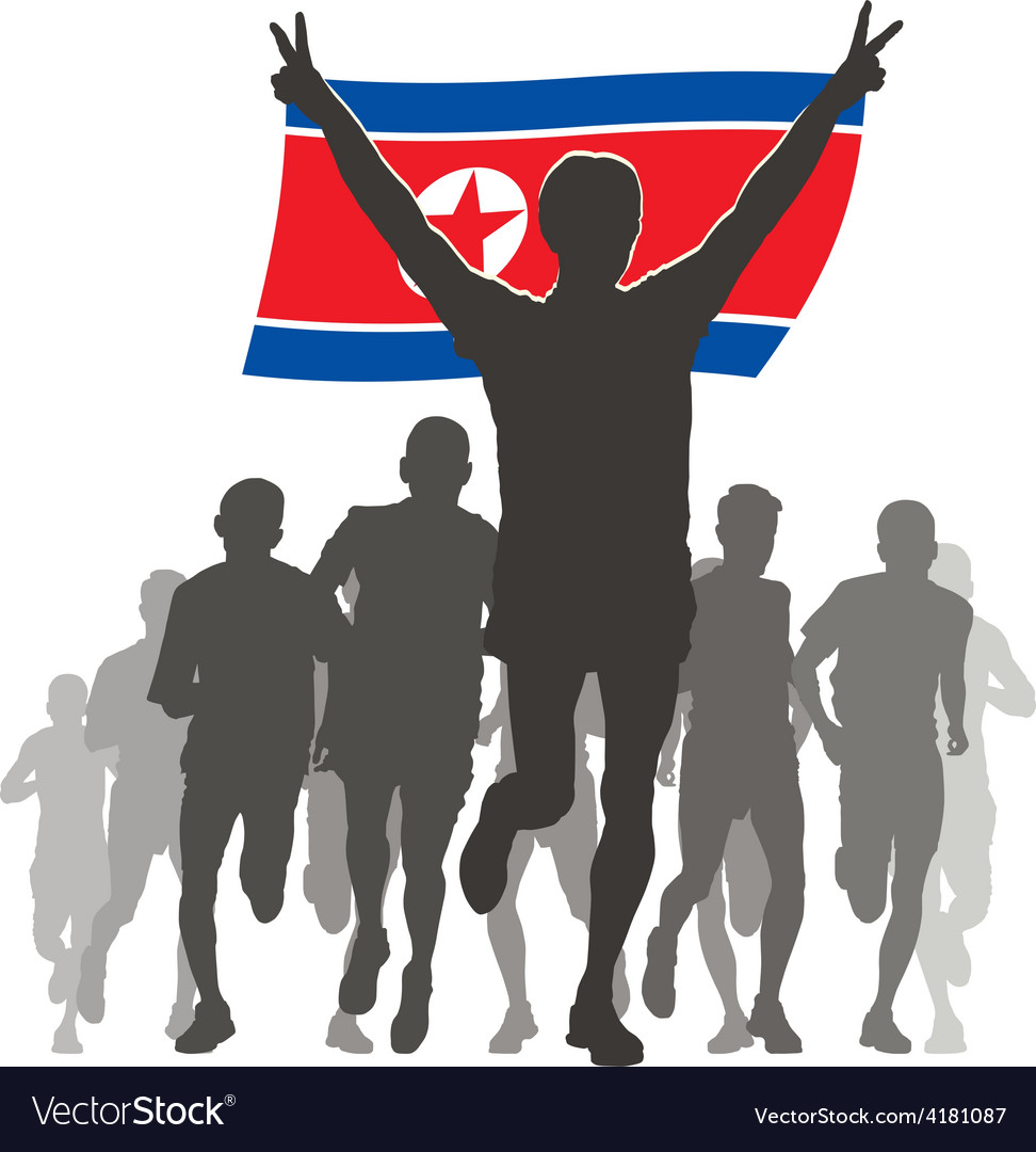 Athlete with the north korea flag at the finish vector | Price: 1 Credit (USD $1)
