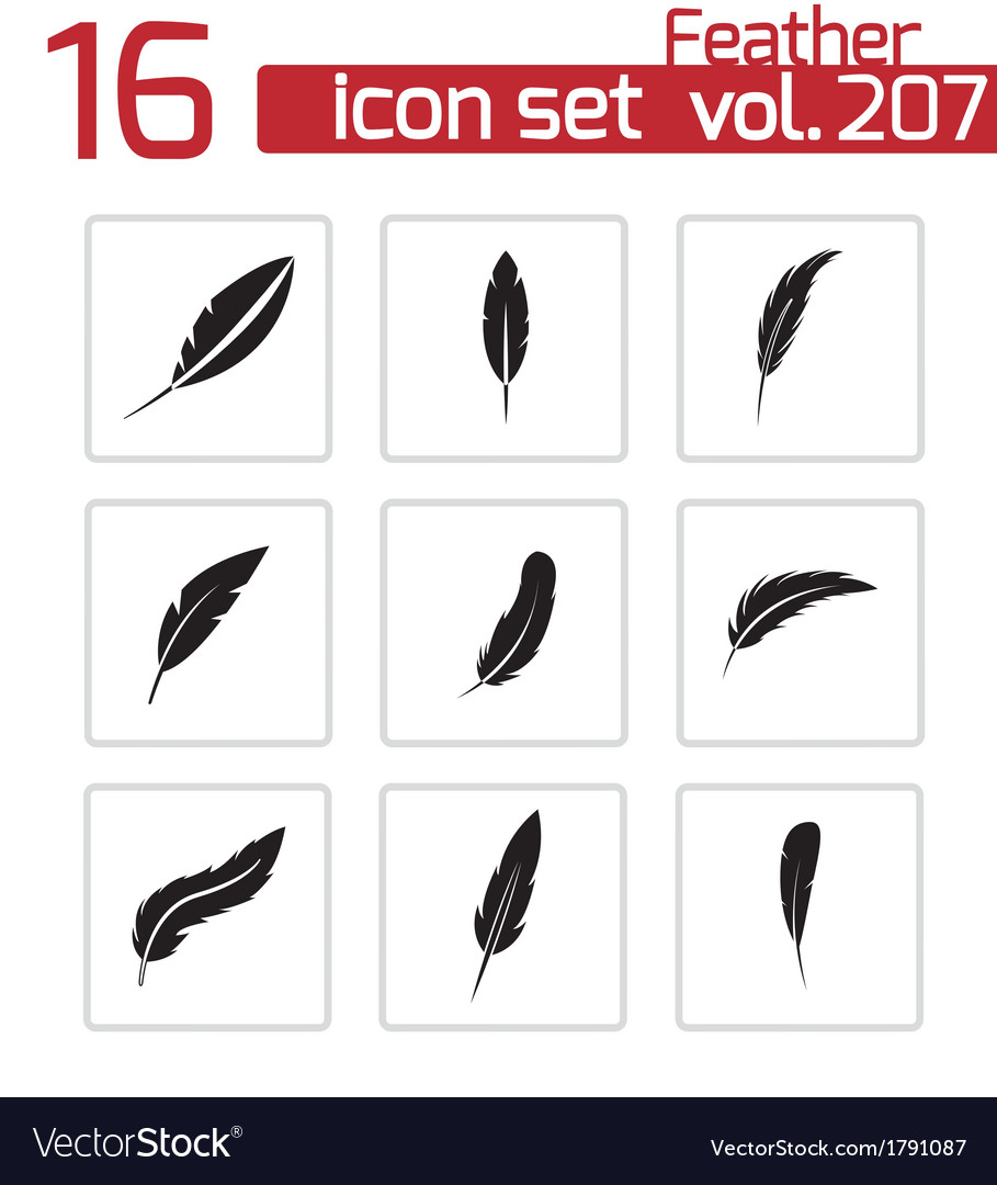 Black feather icons set vector | Price: 1 Credit (USD $1)