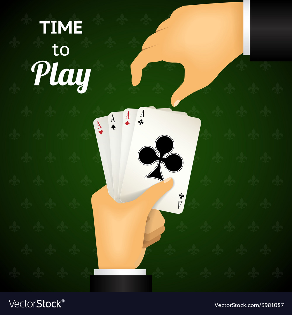 Cartooned hand holding four aces cards vector | Price: 1 Credit (USD $1)