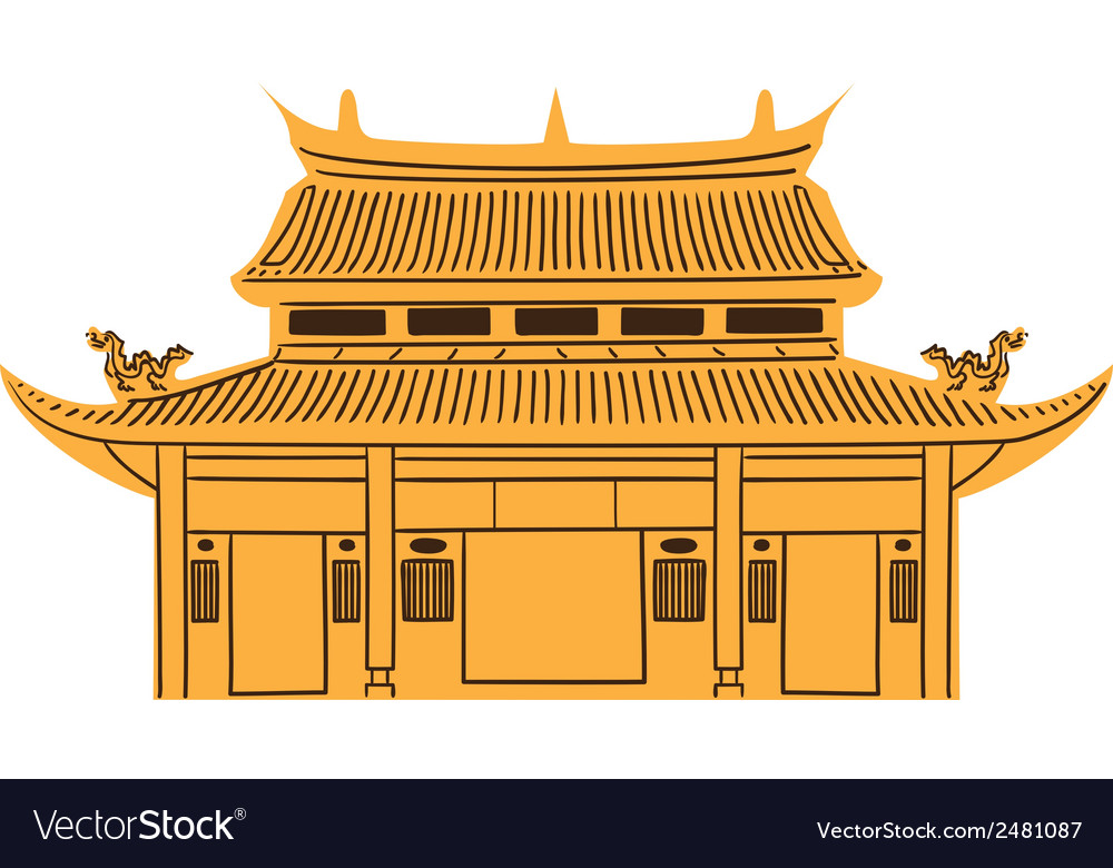 Chinese temple isolated on white vector | Price: 1 Credit (USD $1)