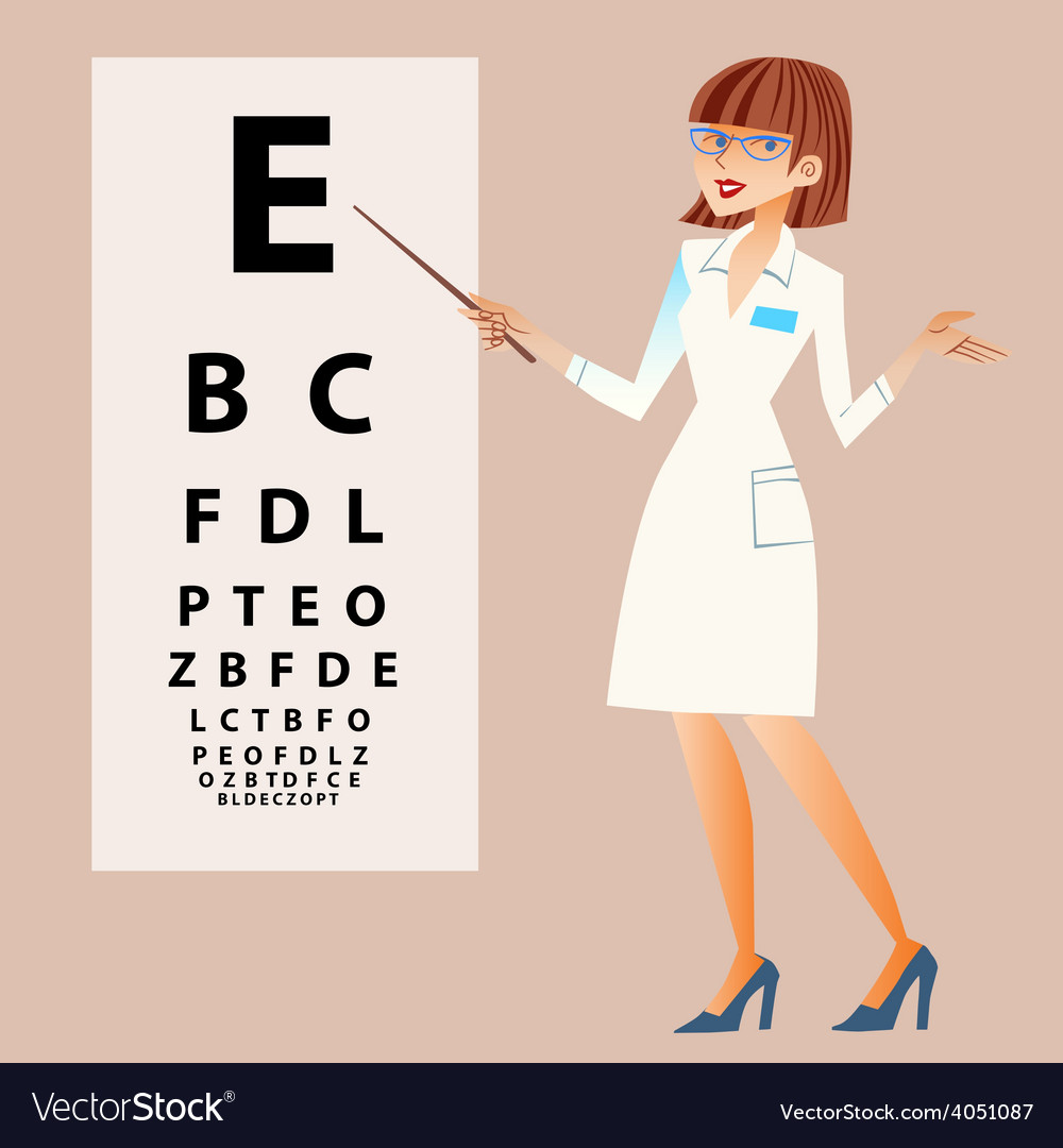 The doctor ophthalmologist examines your eyes vector | Price: 1 Credit (USD $1)