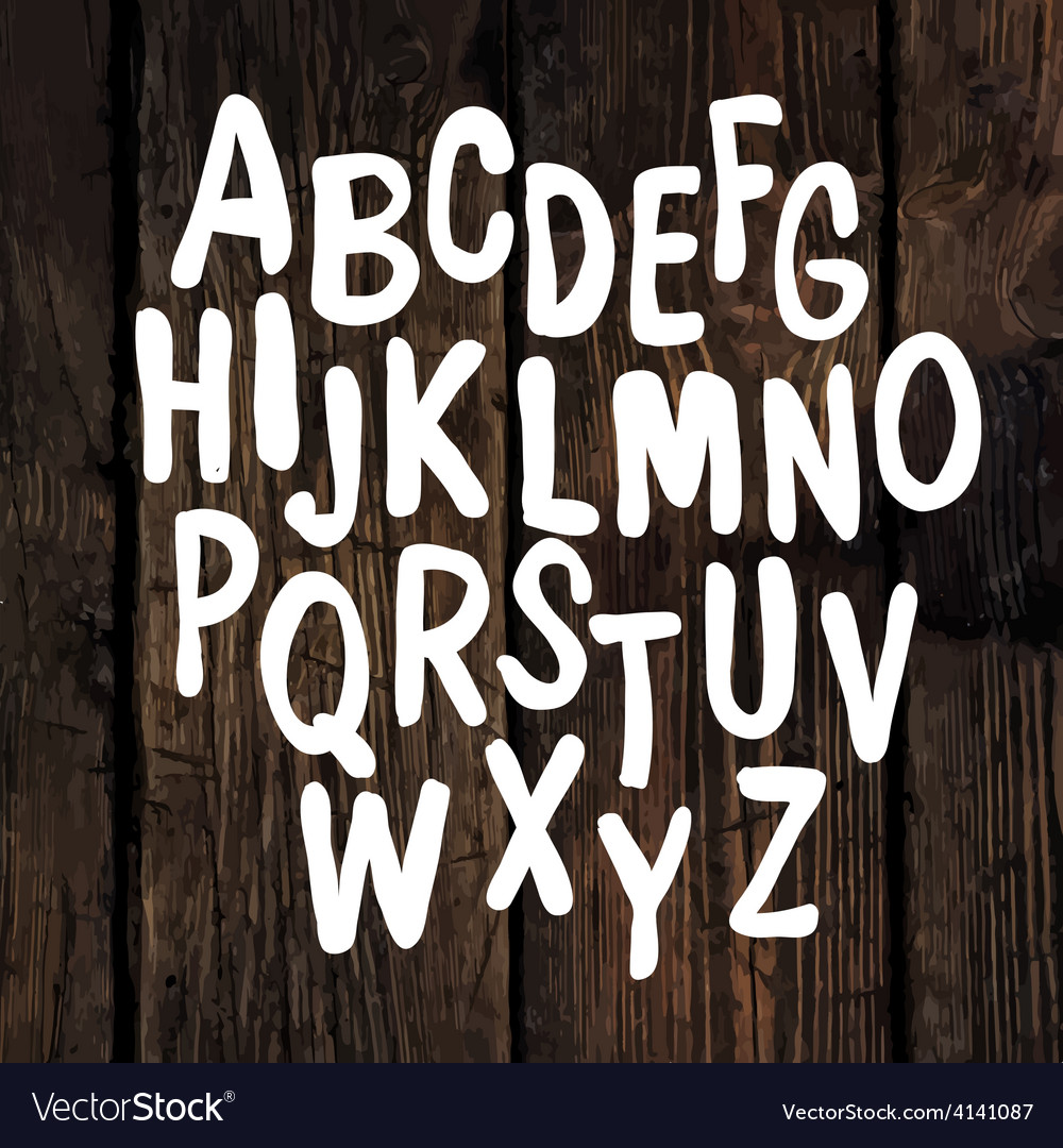Hand drawn alphabet wooden texture vector | Price: 1 Credit (USD $1)