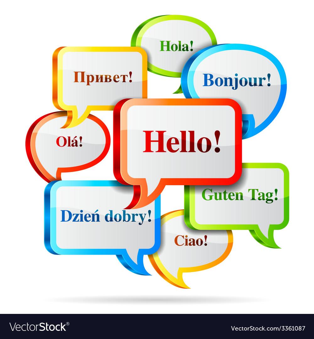 Hello speech bubbles vector | Price: 3 Credit (USD $3)