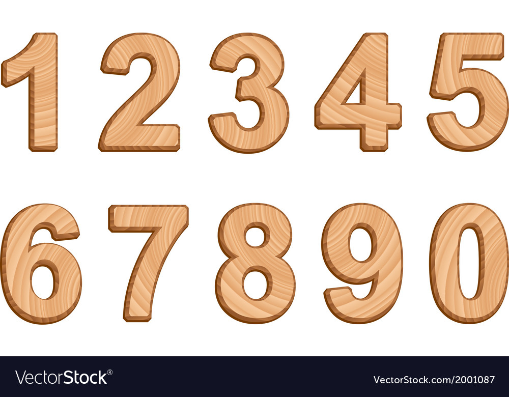 Numerals with texture of wood vector | Price: 1 Credit (USD $1)