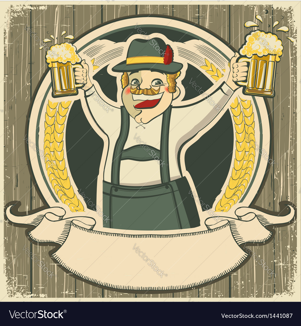 Oktoberfest vintage label with man and glasses of vector | Price: 1 Credit (USD $1)