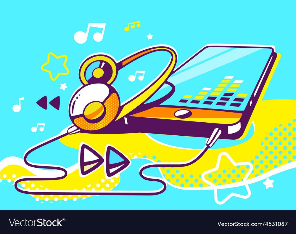 Phone with yellow headphones vector | Price: 1 Credit (USD $1)