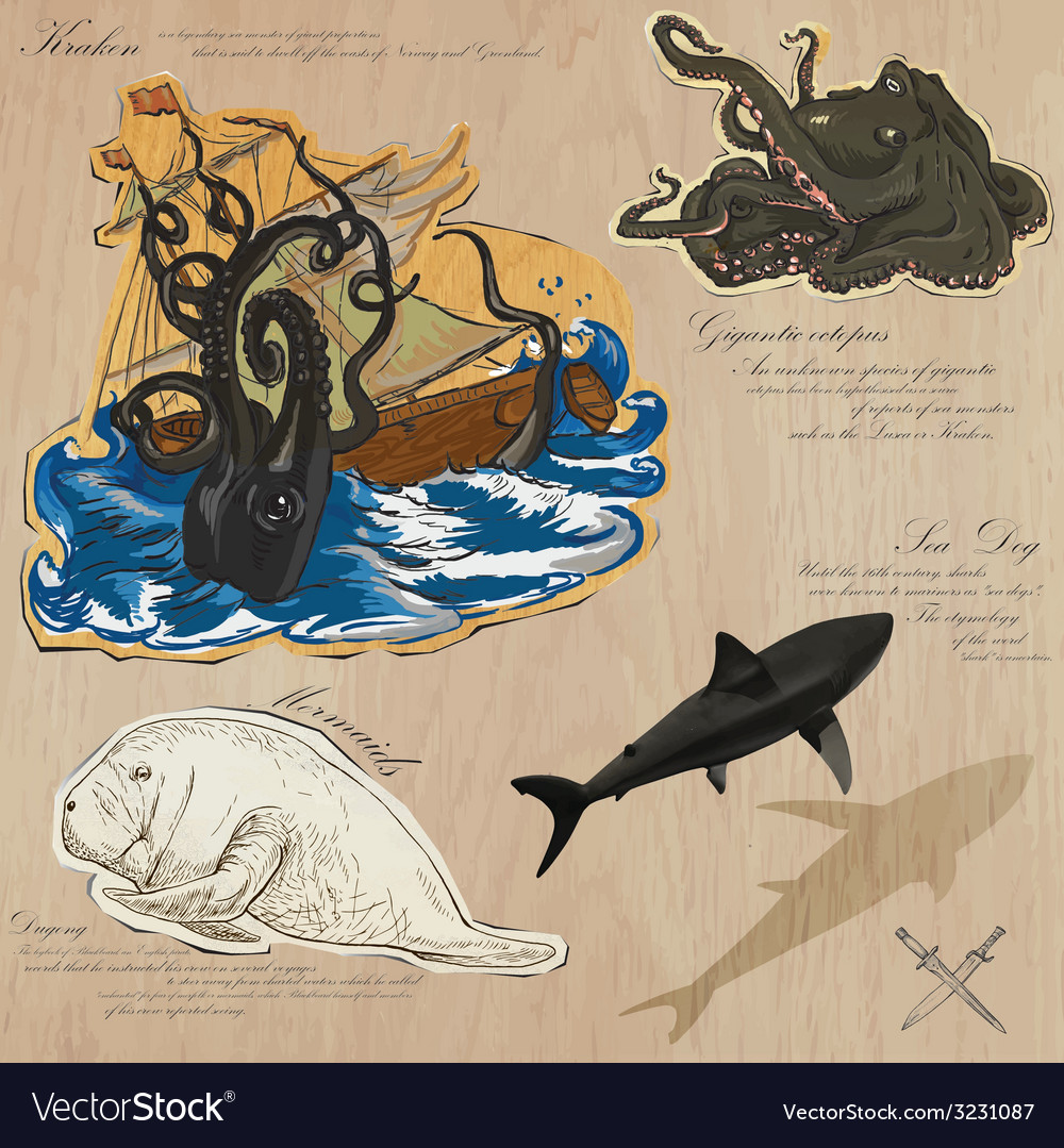 Pirates - sea monsters hand drawn and mixed media vector | Price: 1 Credit (USD $1)