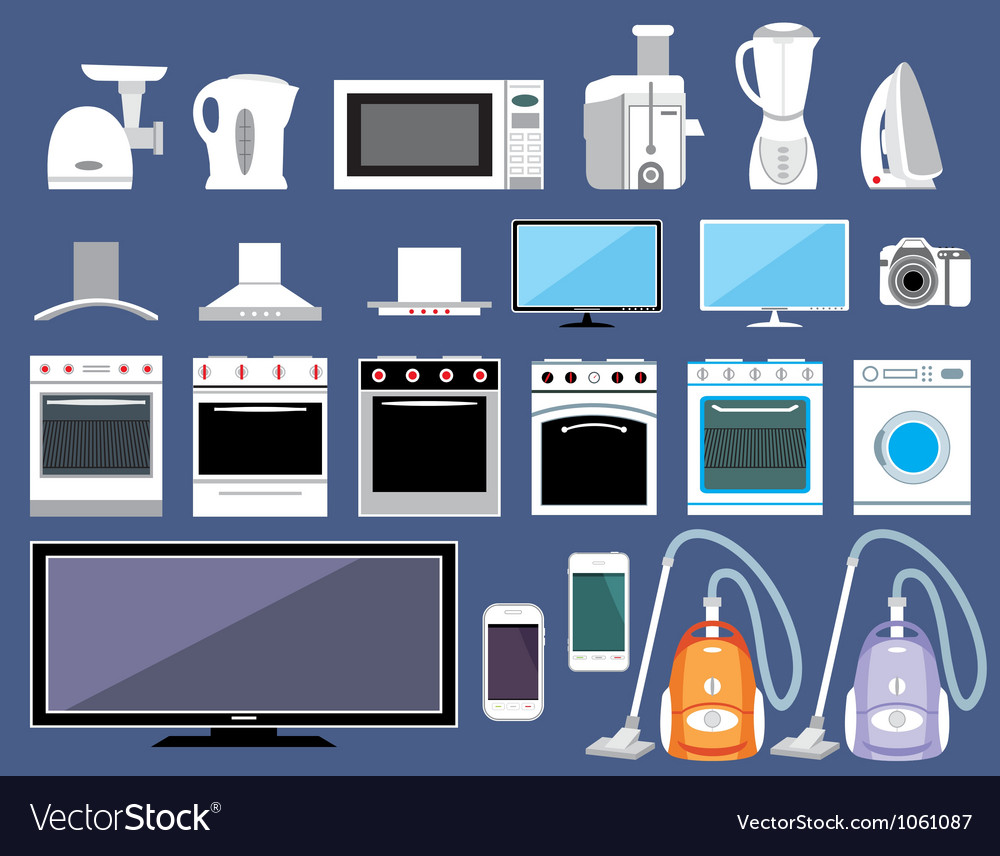 Set of household appliances vector | Price: 1 Credit (USD $1)