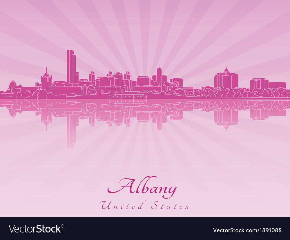Albany skyline in radiant orchid vector | Price: 1 Credit (USD $1)