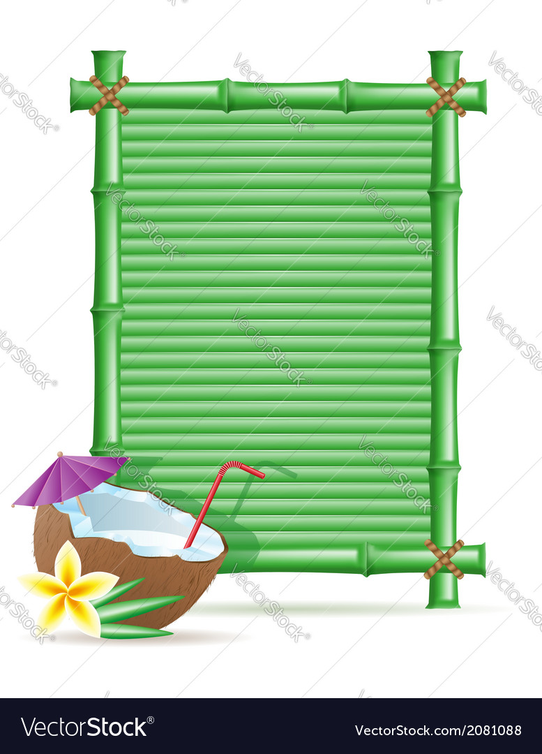 Bamboo frame and coconut 01 vector   Price: 1 Credit (USD $1)
