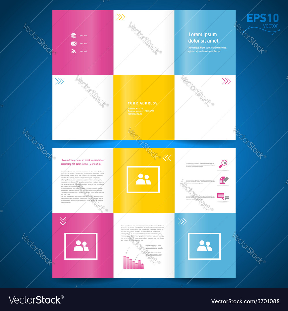 Brochure folder leaflet colored squares white back vector | Price: 1 Credit (USD $1)
