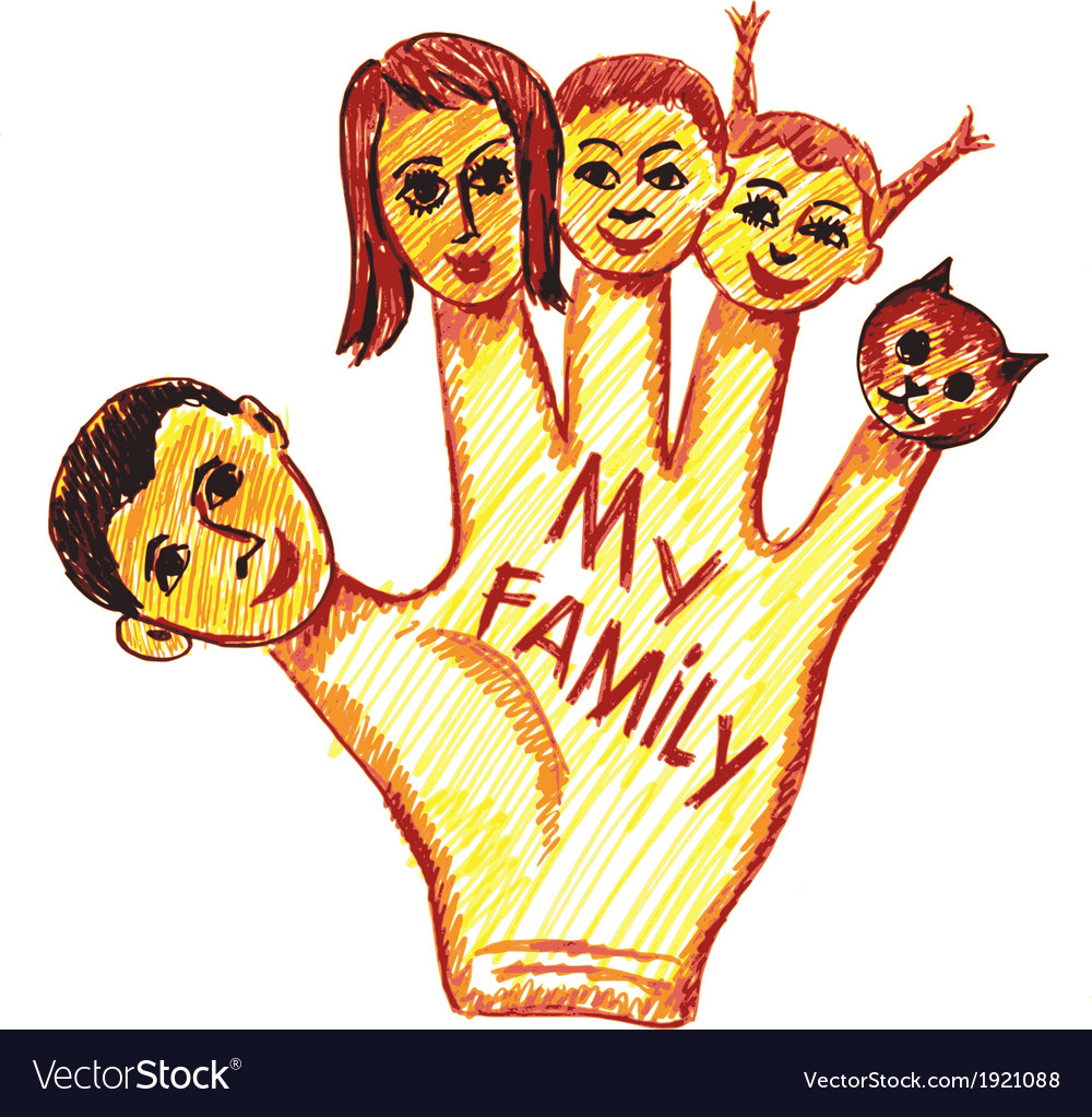 Childs drawing of my family vector | Price: 1 Credit (USD $1)