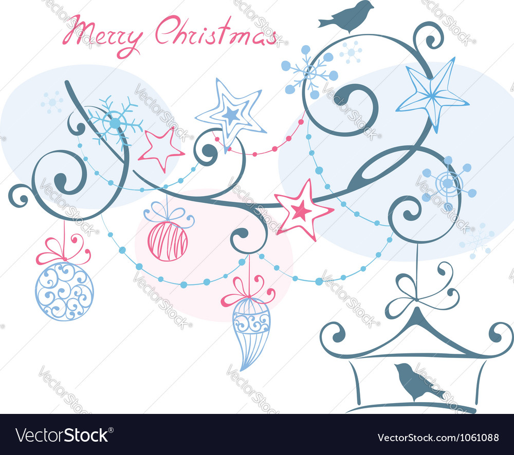 Christmas background - birds on branch christm vector | Price: 1 Credit (USD $1)