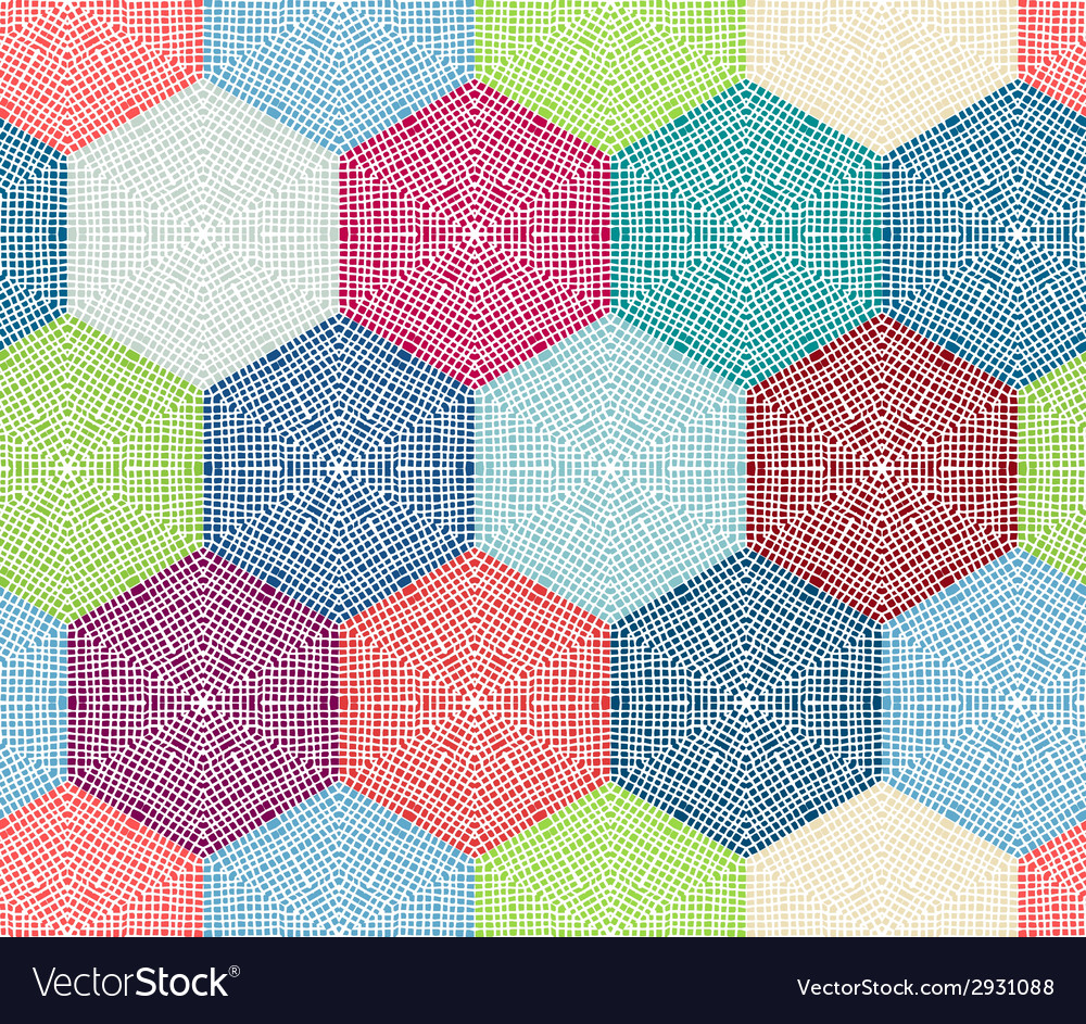 Coloured crochet hexagons vector | Price: 1 Credit (USD $1)
