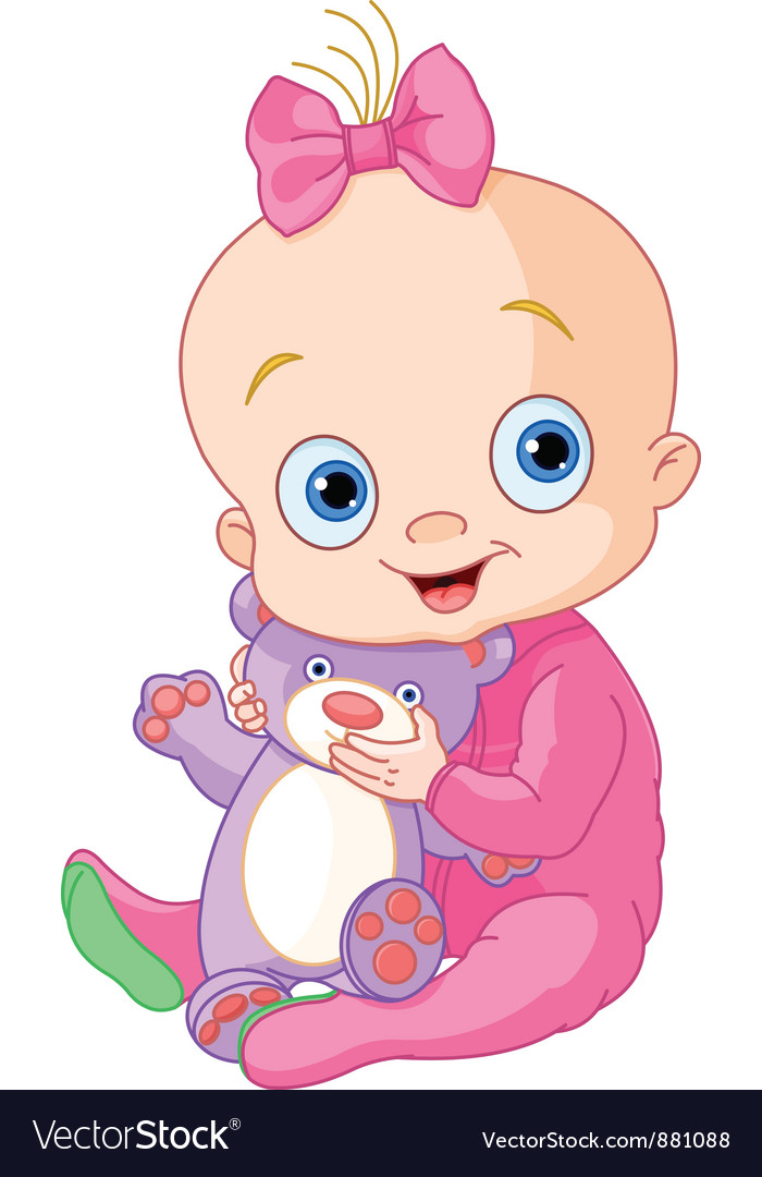 Cute baby girl with teddy bear vector | Price: 3 Credit (USD $3)