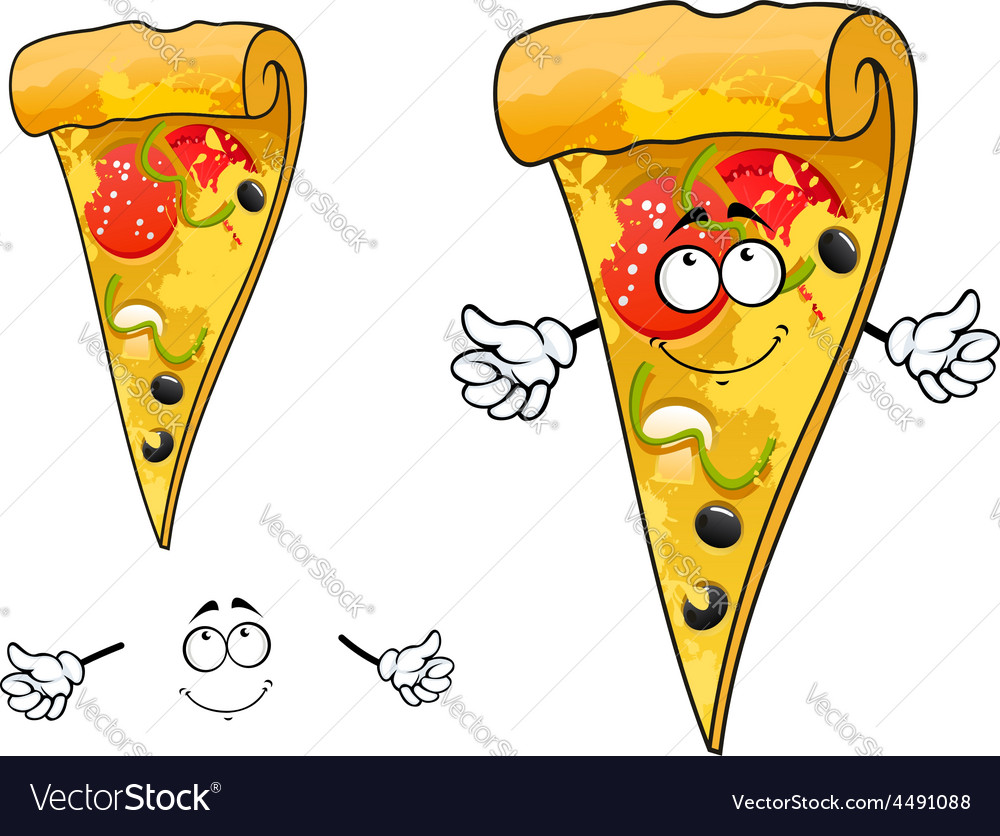 Cute cartoon thin slice of pizza character vector | Price: 1 Credit (USD $1)
