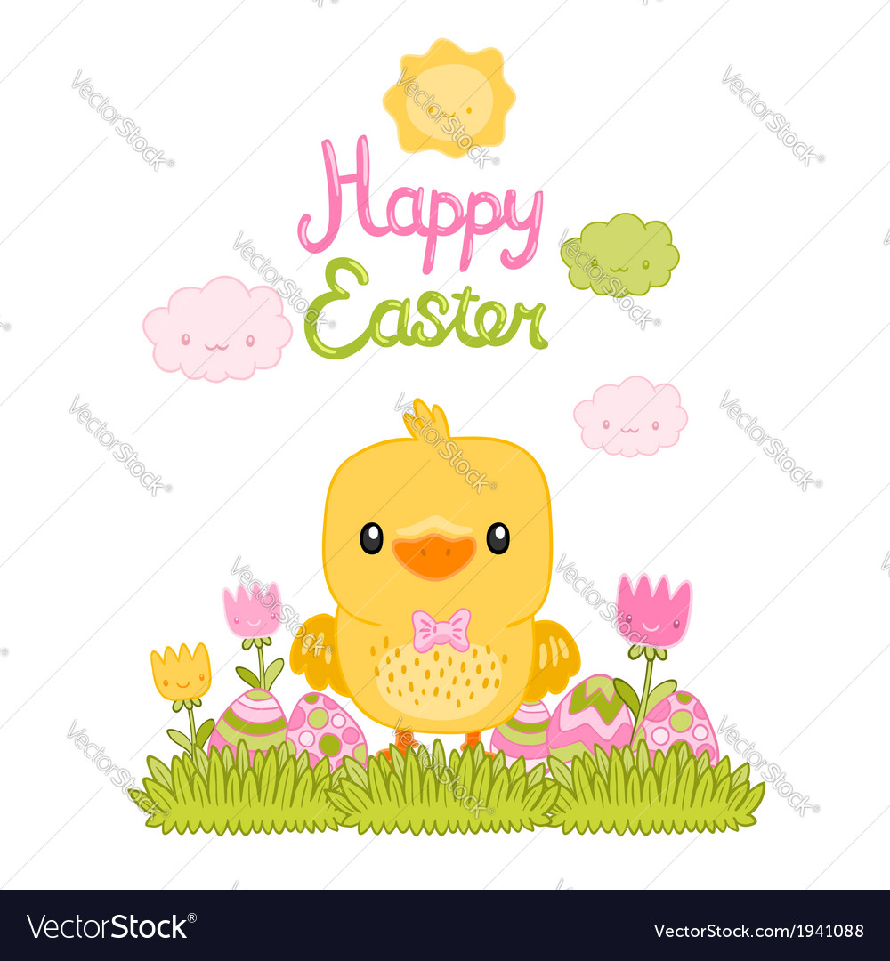 Happy easter cartoon cute chicken and eggs with vector | Price: 1 Credit (USD $1)