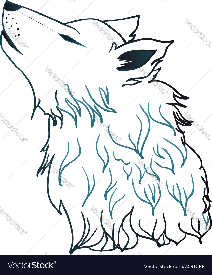 Howling wolf head3 vector | Price: 1 Credit (USD $1)