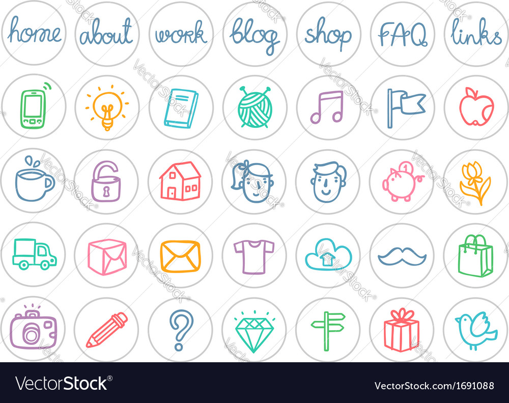 Miscellaneous doodle icons color on white vector | Price: 1 Credit (USD $1)
