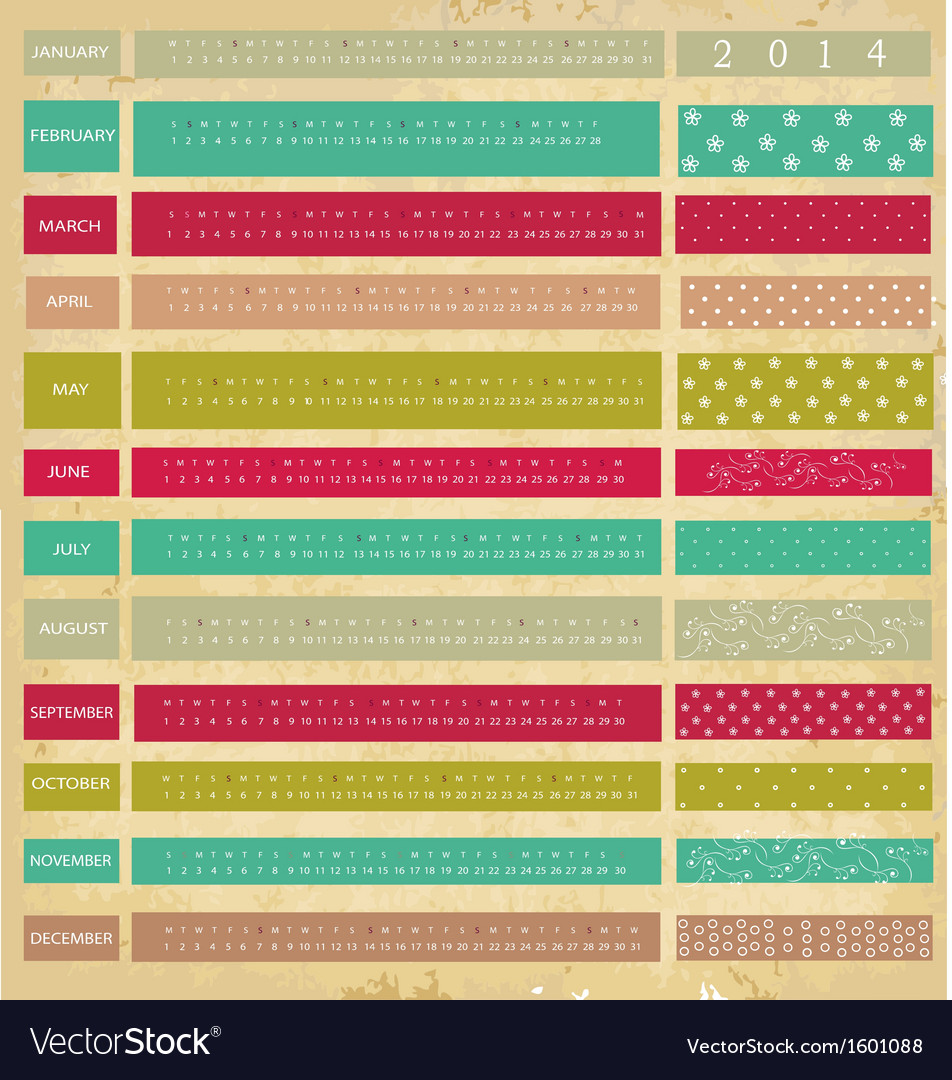 Vintage calendar for 2014 year vector | Price: 1 Credit (USD $1)
