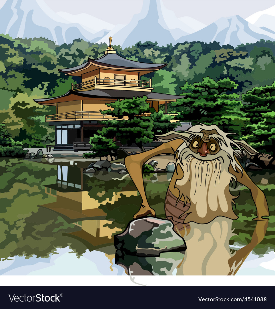 Water goblin in the lake at the temple pagoda vector | Price: 3 Credit (USD $3)