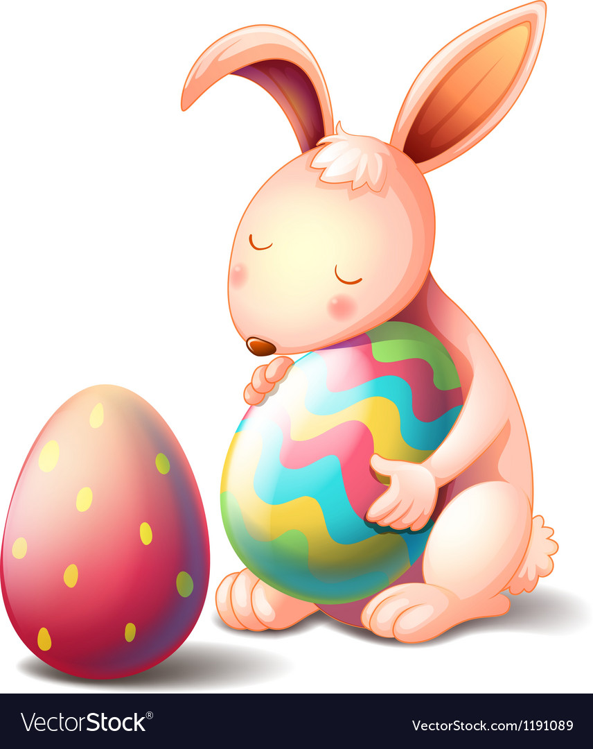 A rabbit hugging a colorful easter egg vector   Price: 1 Credit (USD $1)