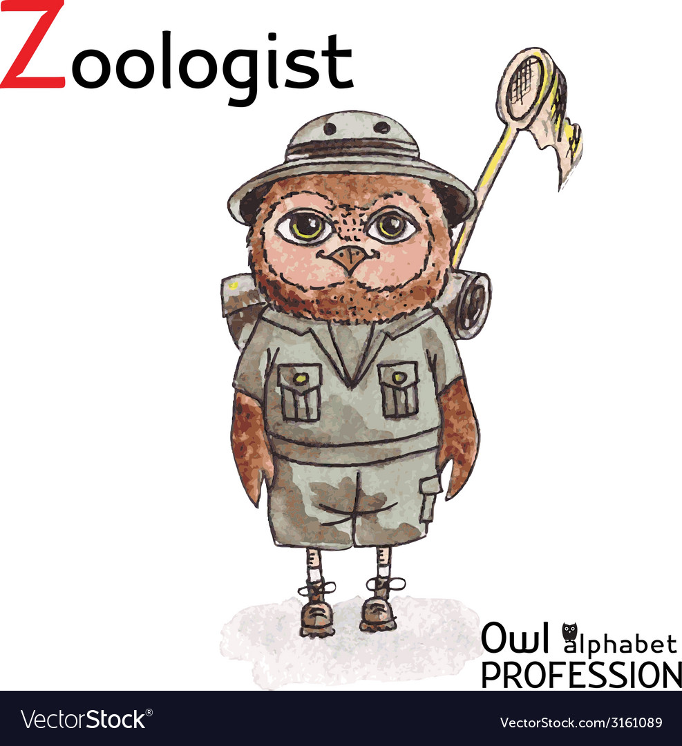 Alphabet professions owl letter z - zoologist vector | Price: 1 Credit (USD $1)