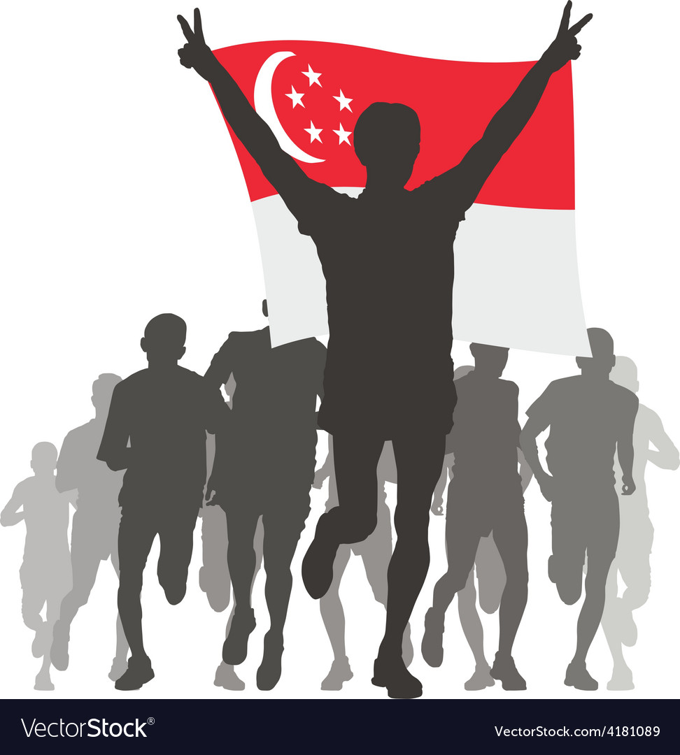 Athlete with the singapore flag at the finish vector | Price: 1 Credit (USD $1)
