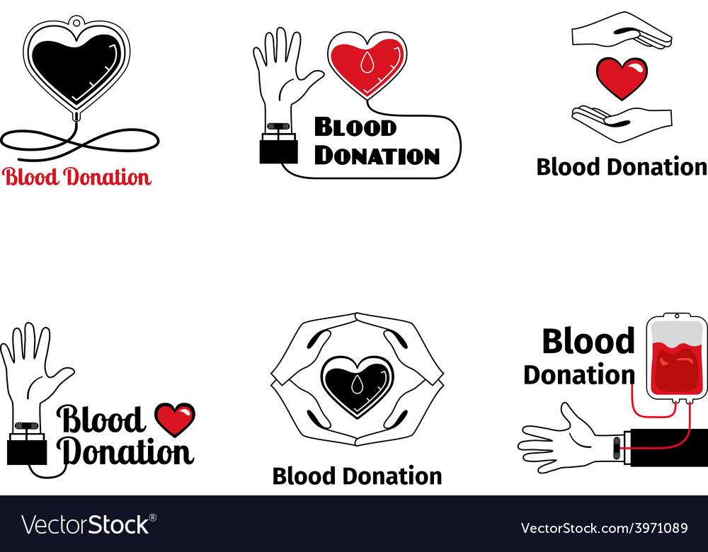 Blood donation logo or emblem set vector | Price: 1 Credit (USD $1)
