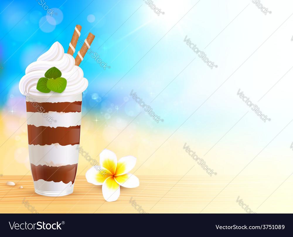 Chocolate creamy dessert on blurred summer beach vector | Price: 3 Credit (USD $3)