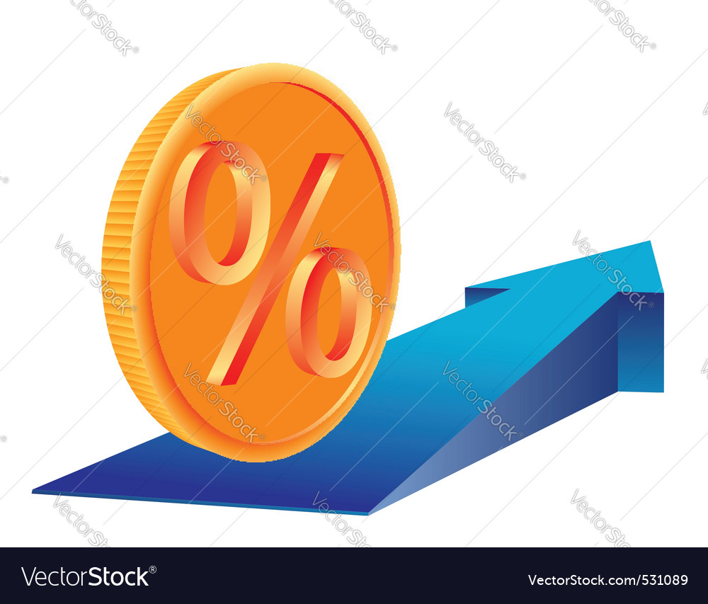 Coin with percent sign vector | Price: 1 Credit (USD $1)