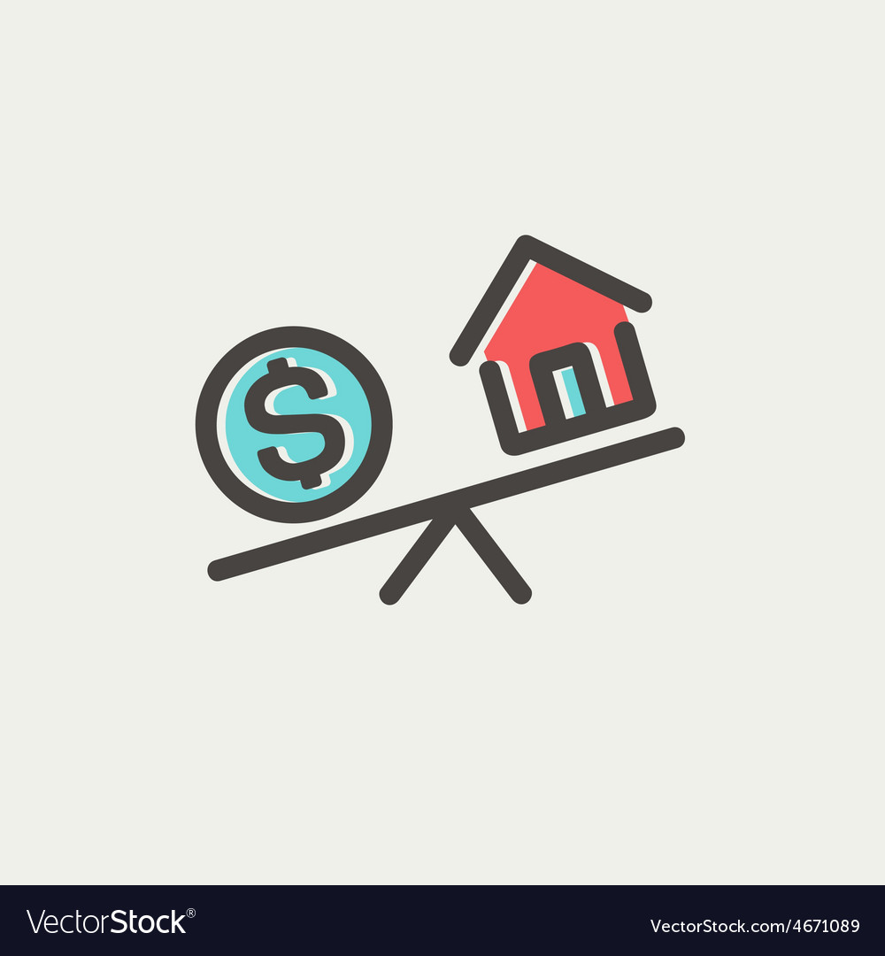 Compare or exchange home to money thin line icon vector | Price: 1 Credit (USD $1)