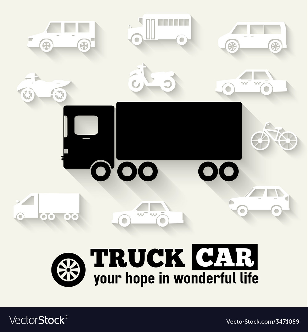 Flat truck car background concept tamplate for web vector | Price: 1 Credit (USD $1)