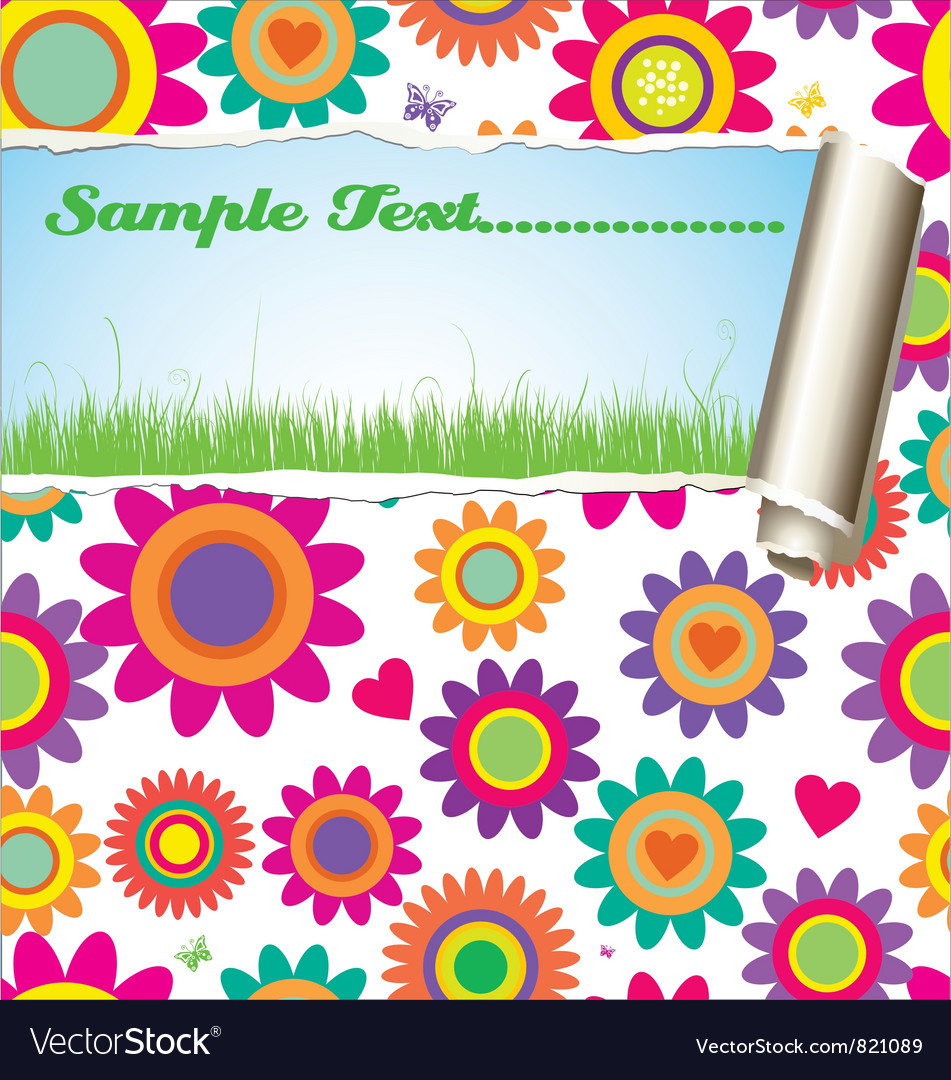 Flower pattern - damaged paper with place for text vector | Price: 1 Credit (USD $1)