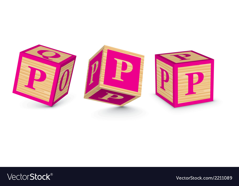 Letter p wooden alphabet blocks vector | Price: 1 Credit (USD $1)