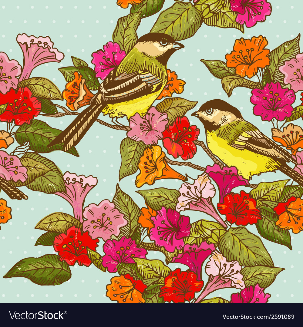 Seamless pattern - flowers and birds vector | Price: 1 Credit (USD $1)