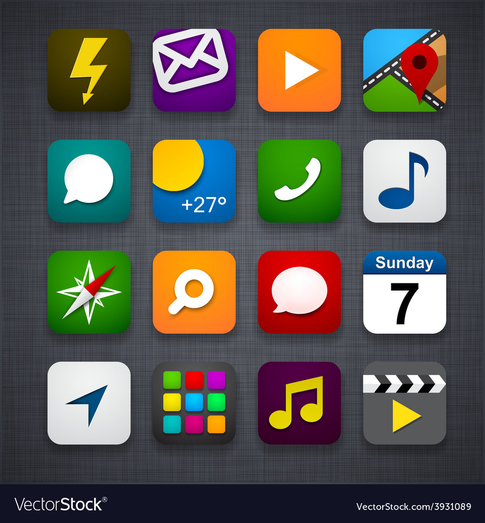 Set of app icons vector   Price: 1 Credit (USD $1)