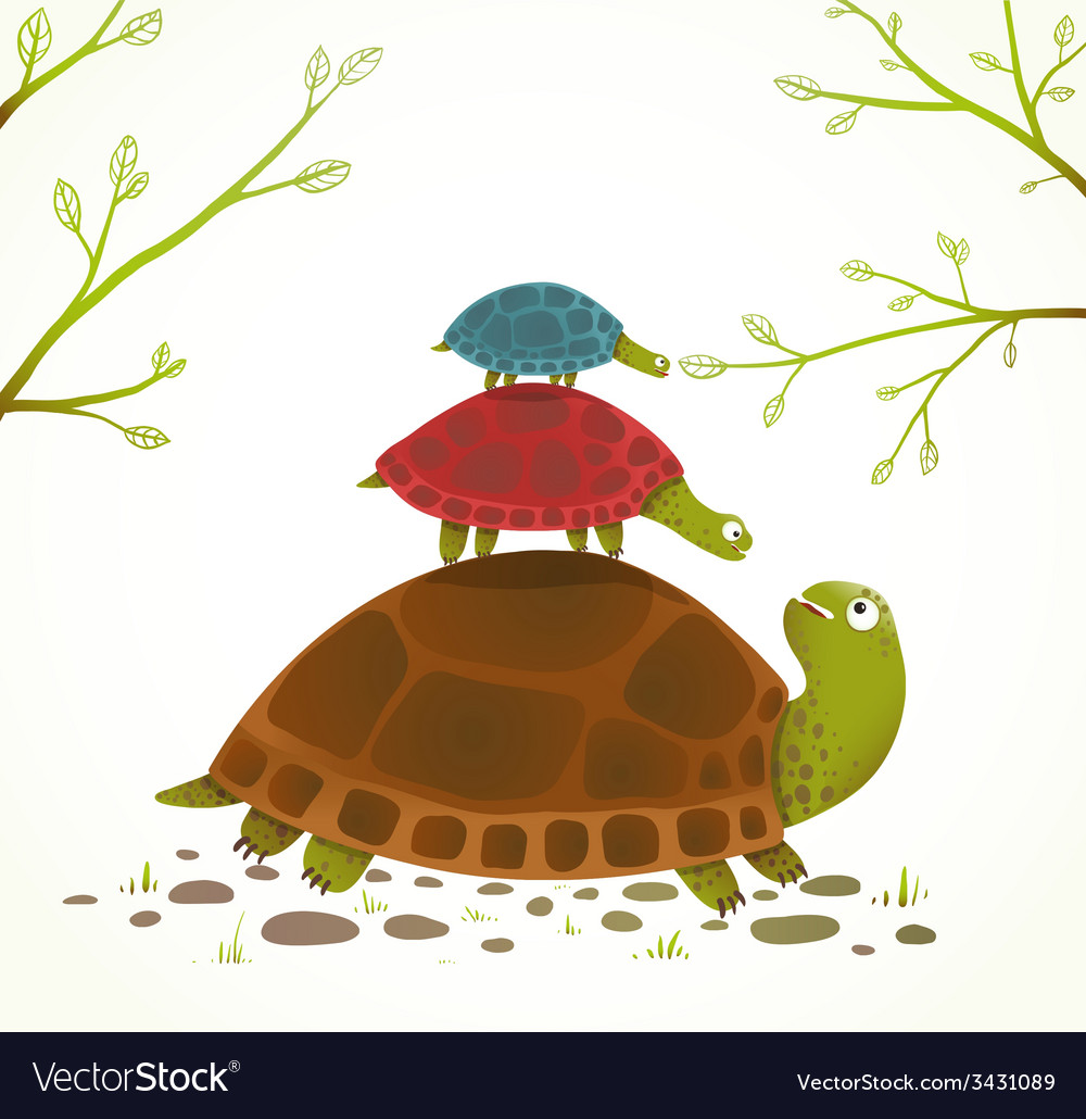 Turtle mother and babies childish animal vector | Price: 1 Credit (USD $1)