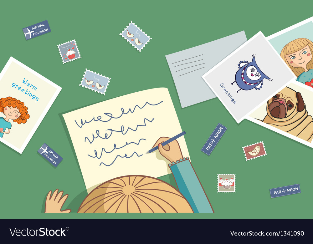 Blonde girl writes a letter vector | Price: 1 Credit (USD $1)