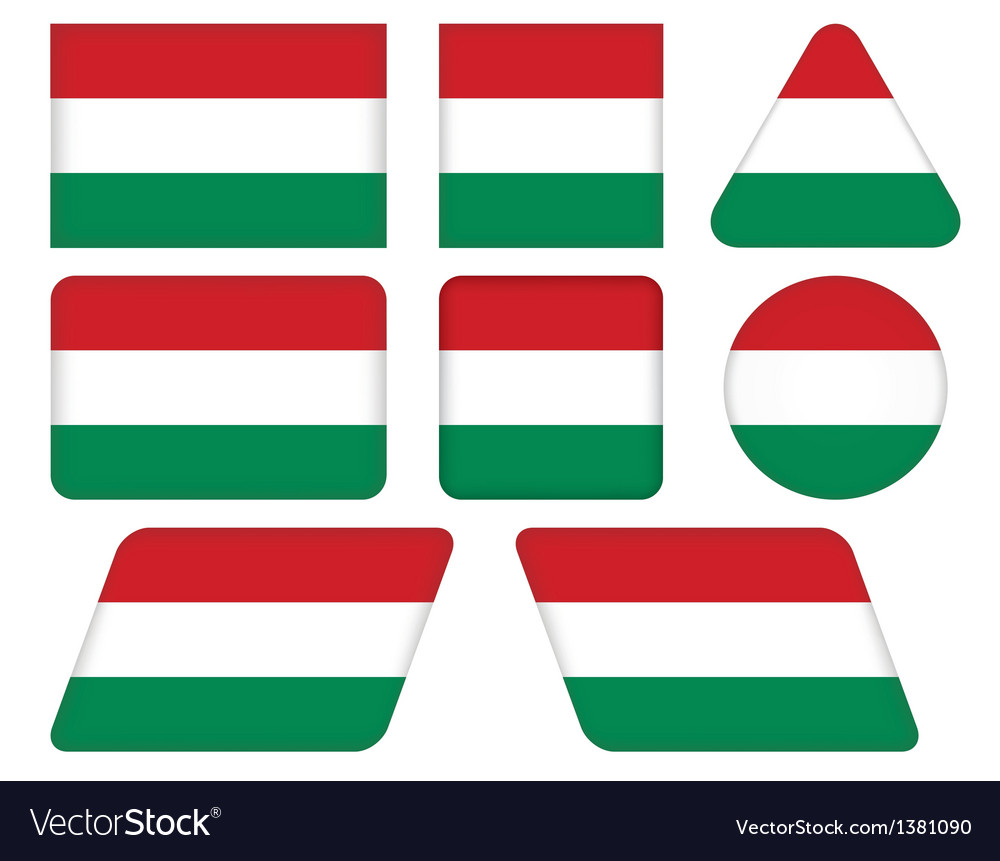 Buttons with flag of hungary vector | Price: 1 Credit (USD $1)