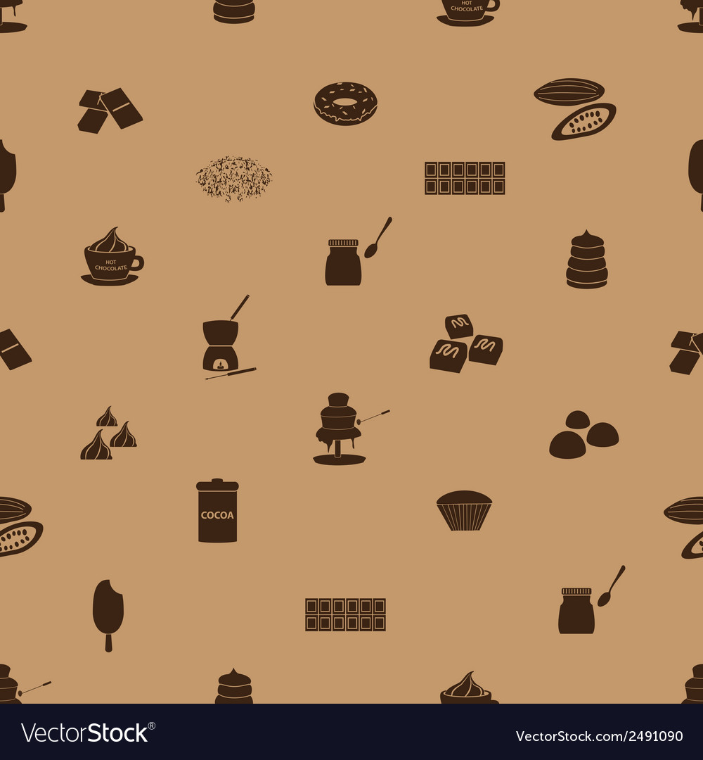 Chocolate icons seamless brown pattern eps10 vector | Price: 1 Credit (USD $1)