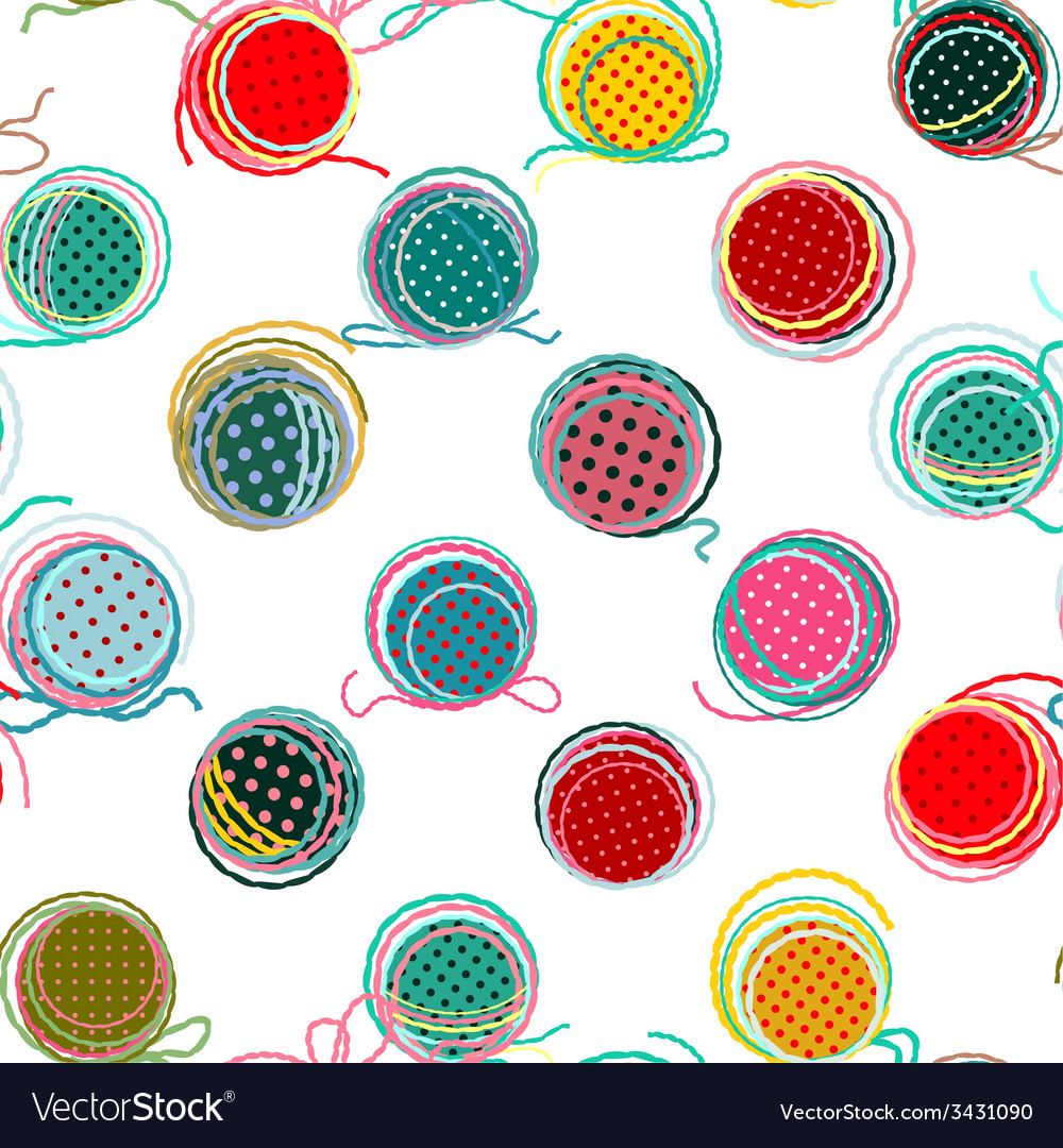 Colorful seamless yarn balls pattern vector | Price: 1 Credit (USD $1)