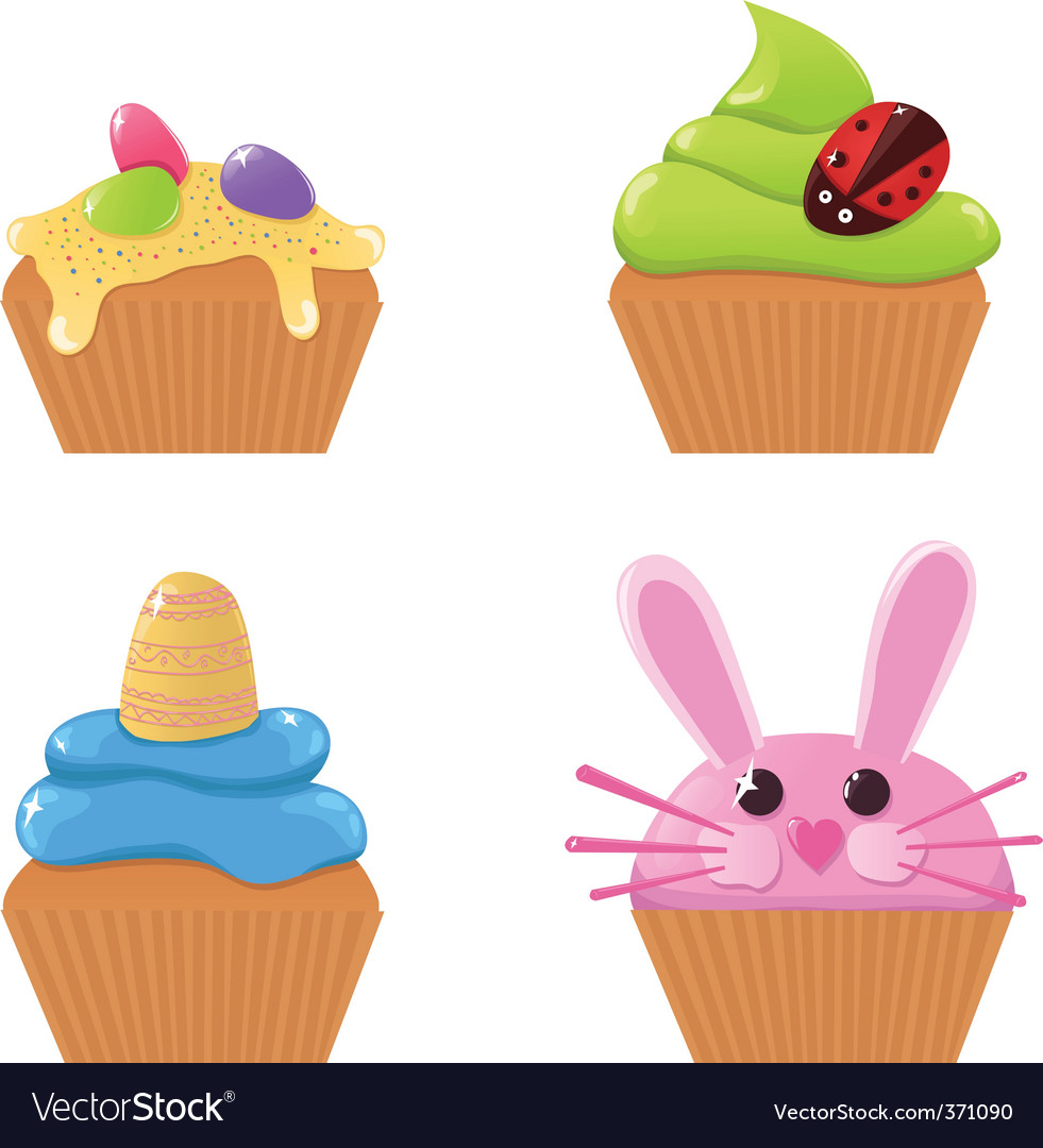 Easter cupcakes vector | Price: 1 Credit (USD $1)