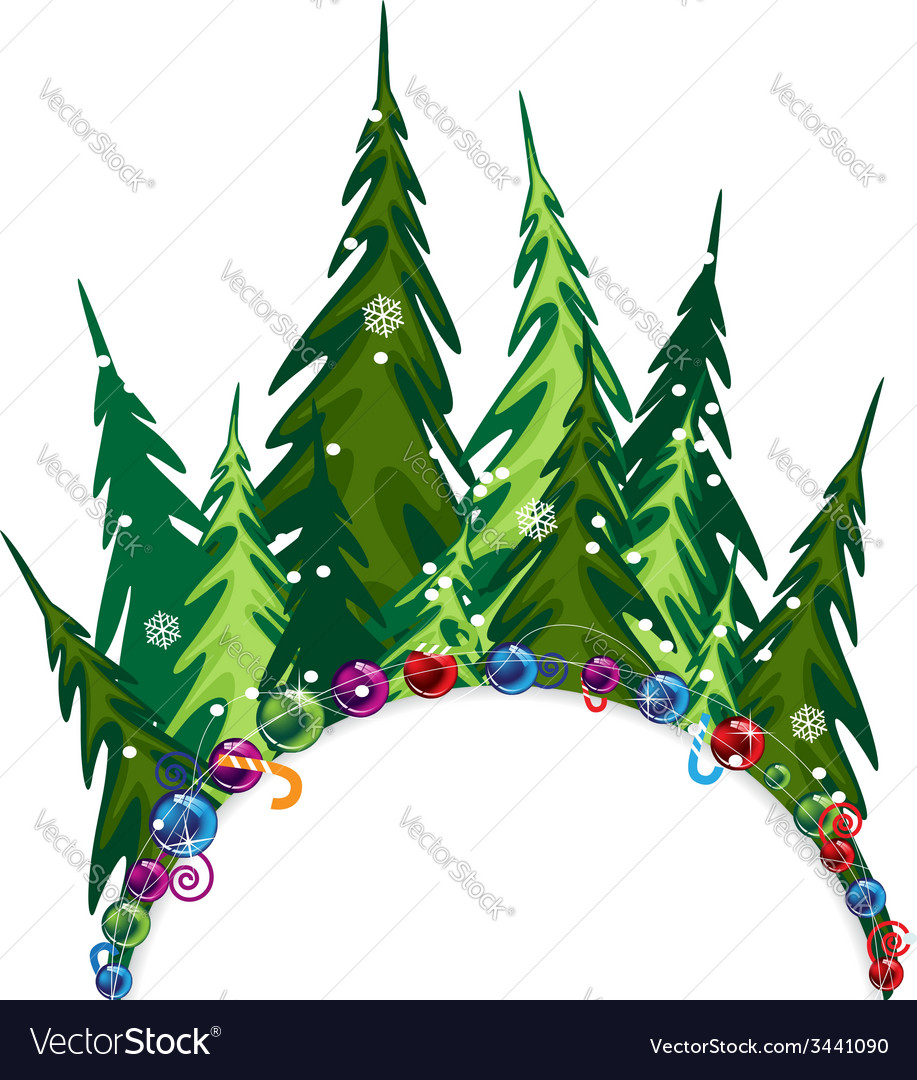 Fir forest with christmas decorations vector | Price: 3 Credit (USD $3)