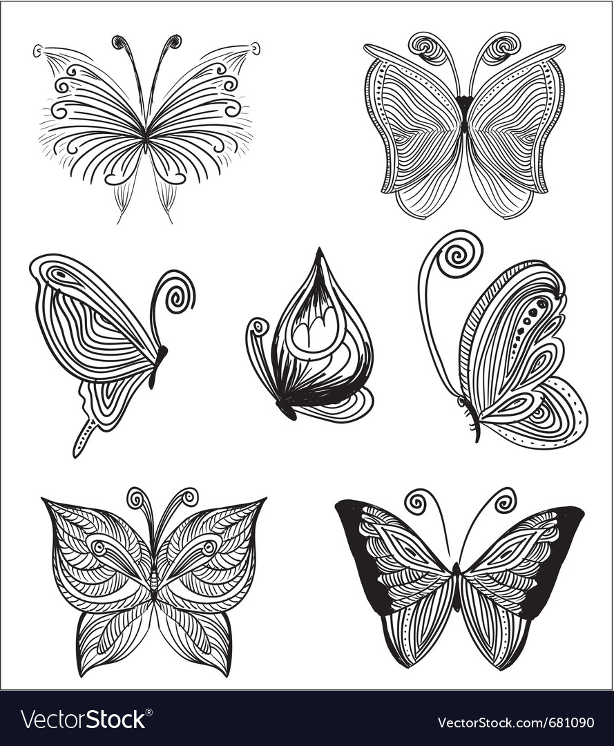 Floral butterflies vector | Price: 1 Credit (USD $1)